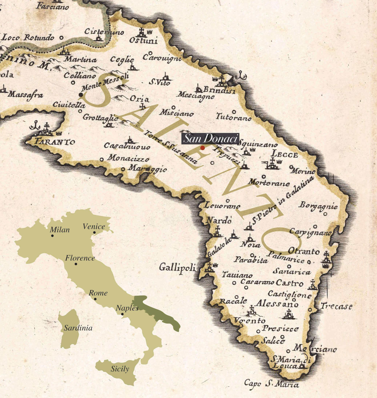 antica mappa Salento